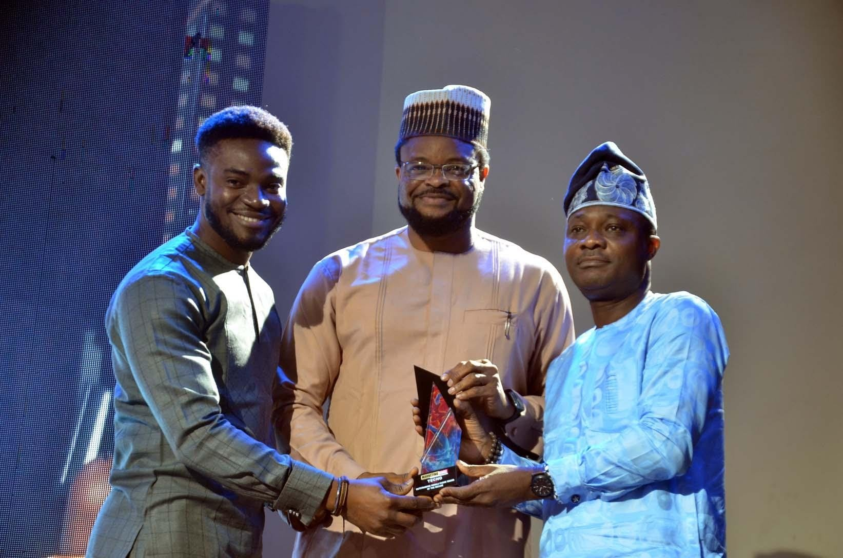 Receiving the award for the brand, Vincent Uzoegbu, PR Communications and Media Manager, TECNO Mobile, West Africa