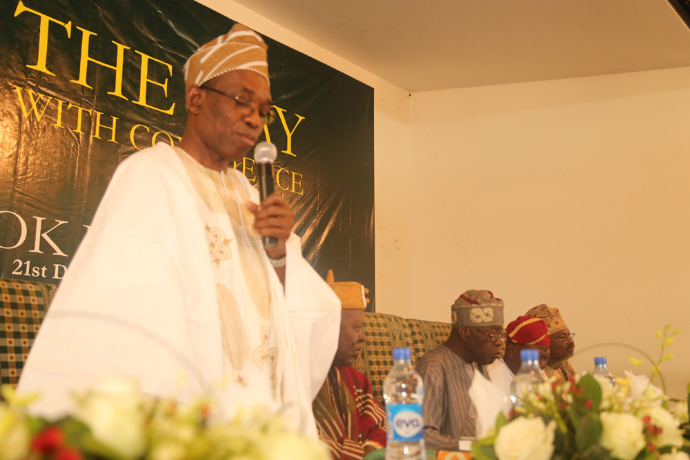 Prof Segun Gbadegesin (Standing) with others