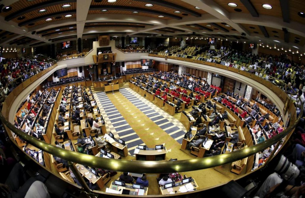 South Africa Parliament in Cape Town is seen during a motion to impeach President Jacob Zuma after the constitutional court ruled that he breached the constitution