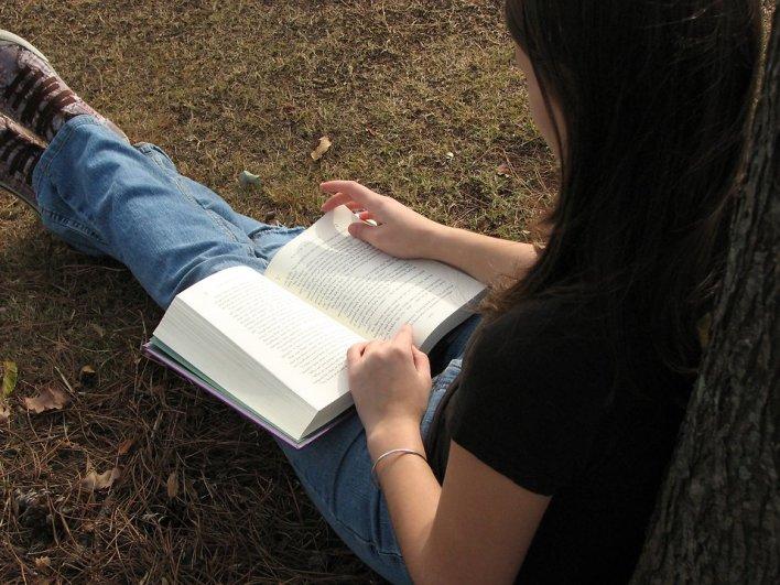 677 teenage girl reading a book pv