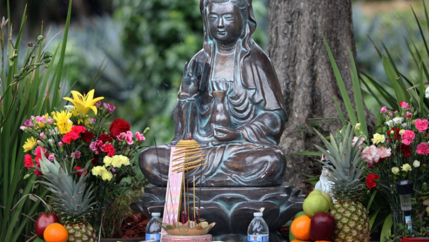 a buddhist statue has