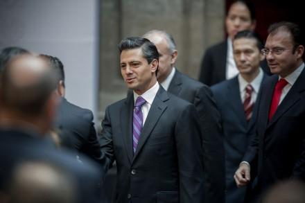 Peña Nieto en Palacio Nacional. Foto: Xinhua / Pedro Mera