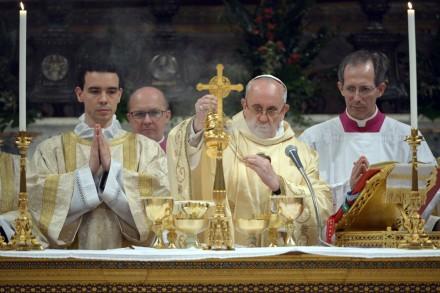 La primera misa del Papa Francisco en la Capilla Sixtina. Foto: AP
