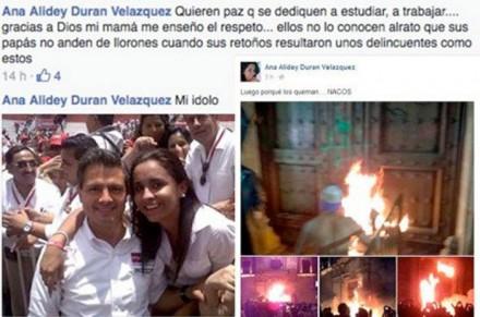 Los mensajes de Ana Alidey Durán Velázquez en Facebook.