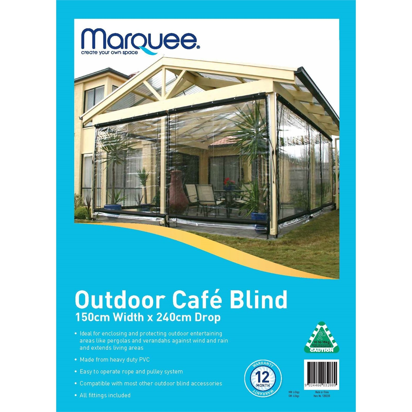marquee pvc outdoor cafe blind clear 3000mm x 2400mm