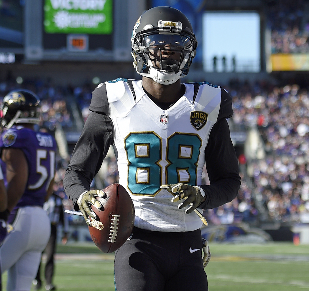 Jacksonville jaguars wide receiver allen hurns scores  touchdown in front of baltimore ravens cornerback jimmy smith and inside linebacker daryl also fantasy football depth charts pff news rh profootballfocus