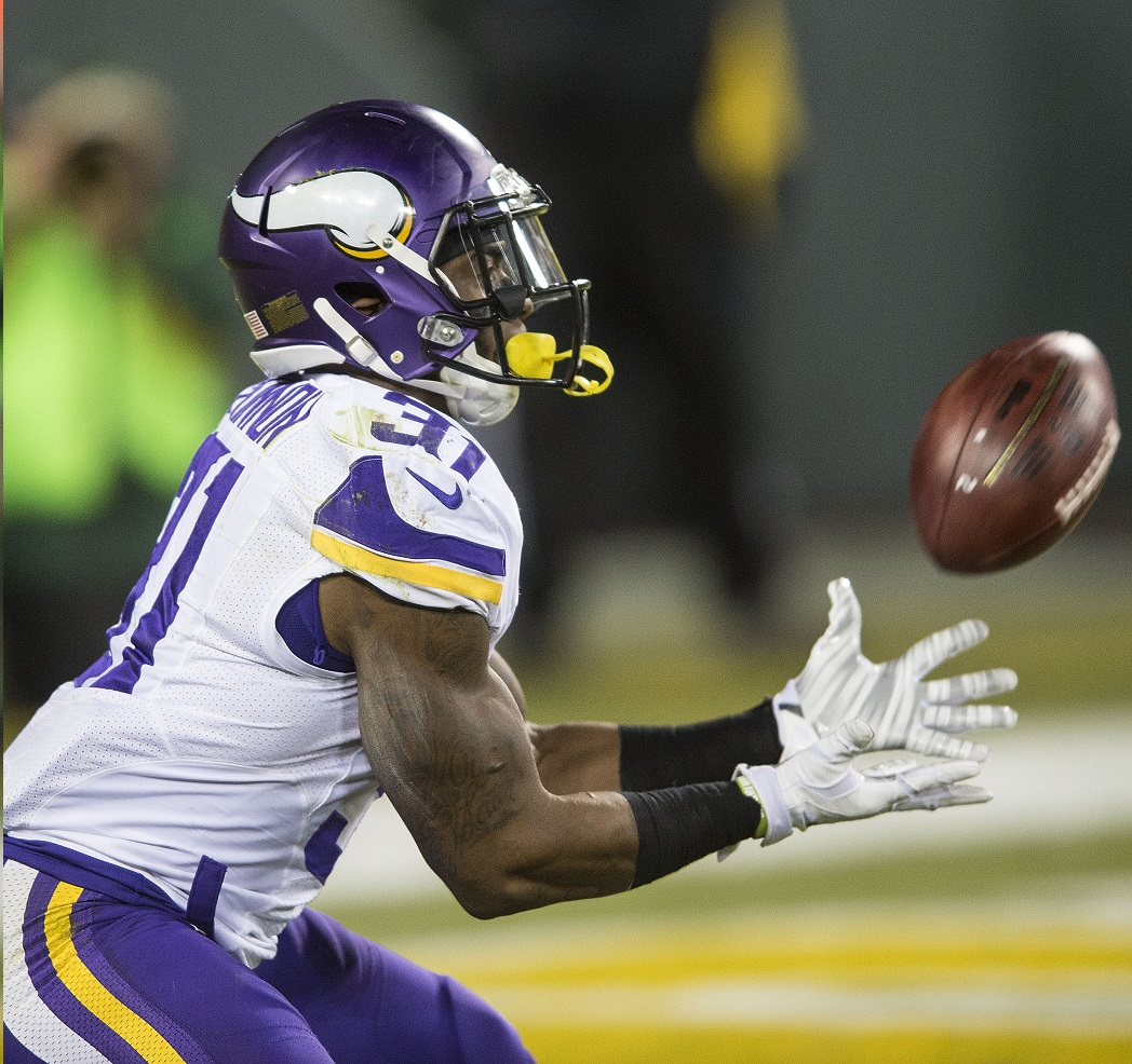 Green bay wi january jerick mckinnon of the minnesota vikings receives  kickoff during an nfl game against packers at lambeau field also fantasy football depth charts pff news rh profootballfocus