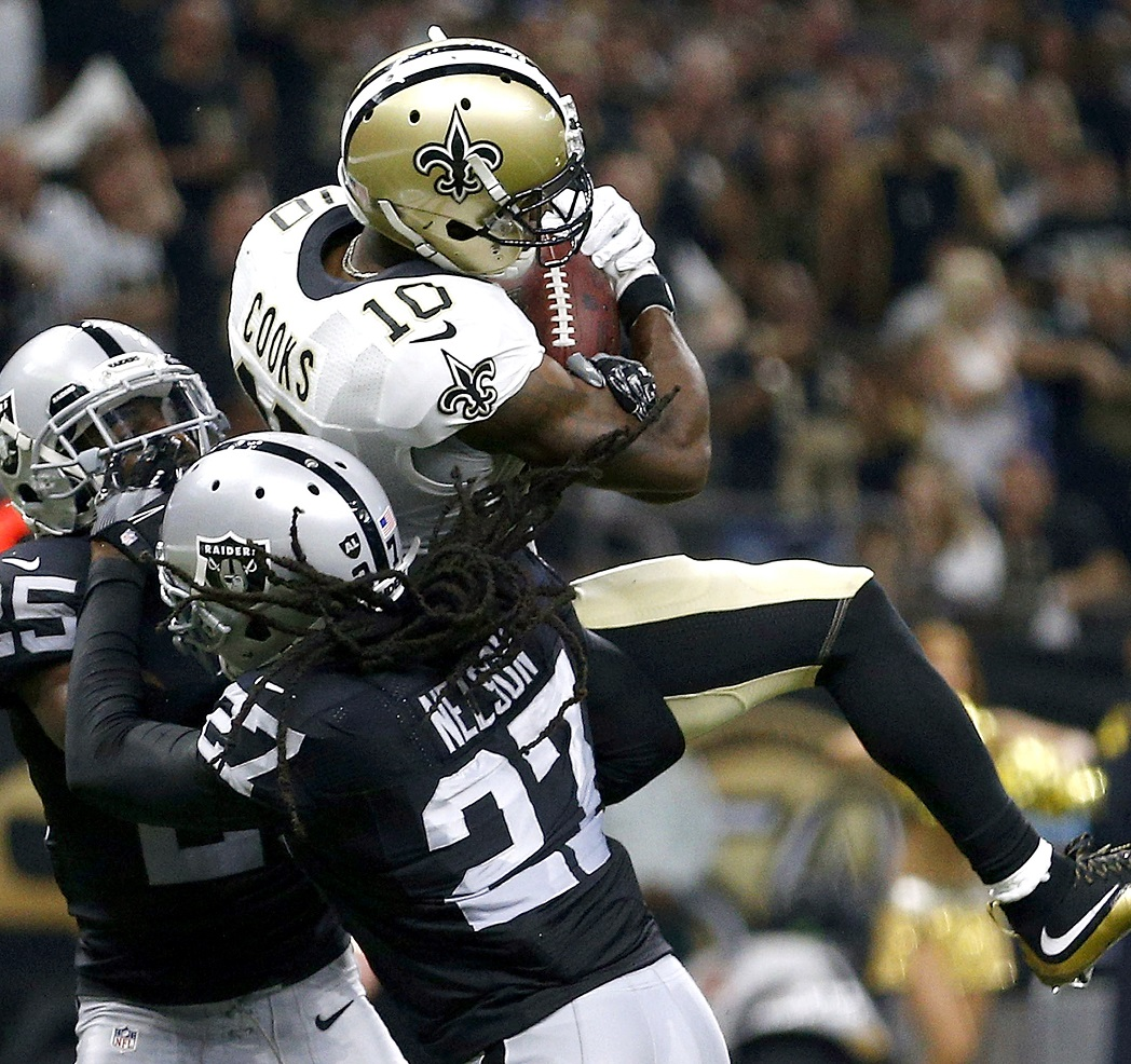 New orleans la september brandin cooks of the saints catches ball for  touchdown over reggie nelson oakland raiders also fantasy football trade value chart week analysis pro rh profootballfocus