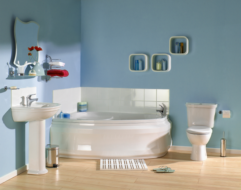 bathroom at risk for water damage