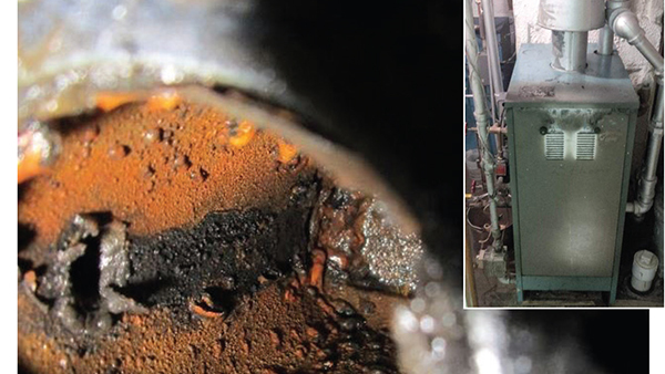 Figure 1 and an inside view of a stuck, low-water cutoff in a boiler. (Photo: HVACi)