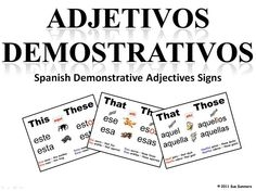 Spanish Textbook 1: Demonstrative Adjectives Practice Test