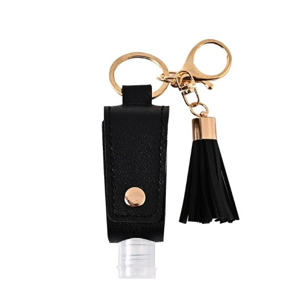 Portable Hand Sanitizer Bottle With Leather Keychain Holder