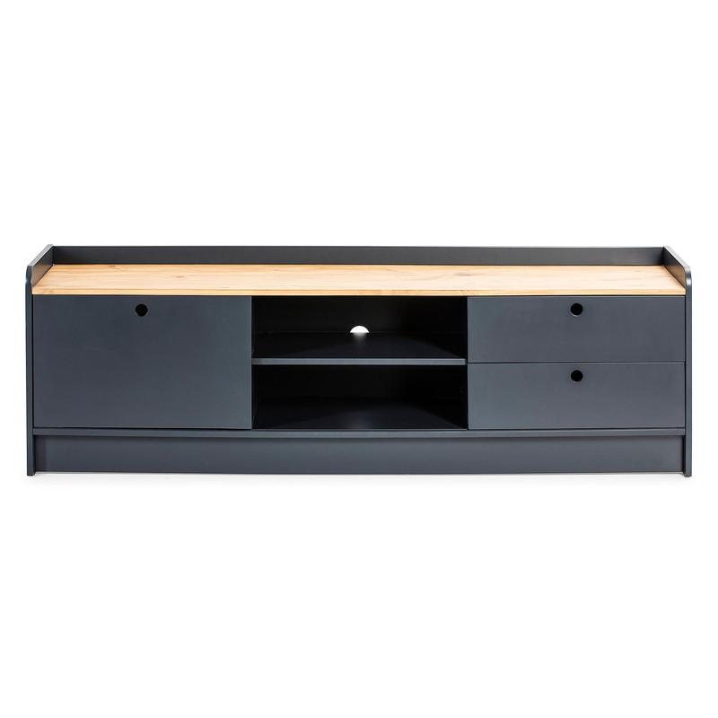 meuble tv en bois gris anthracite 160 x 37 x 51 cm