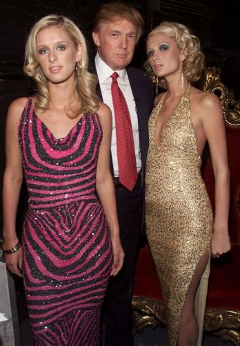 Nikke Hilton, Donald Trump and Paris Hilton at rehearsals for the 2001 VH1 Vogue Fashion Awards at Hammerstein Ballroom in New York City