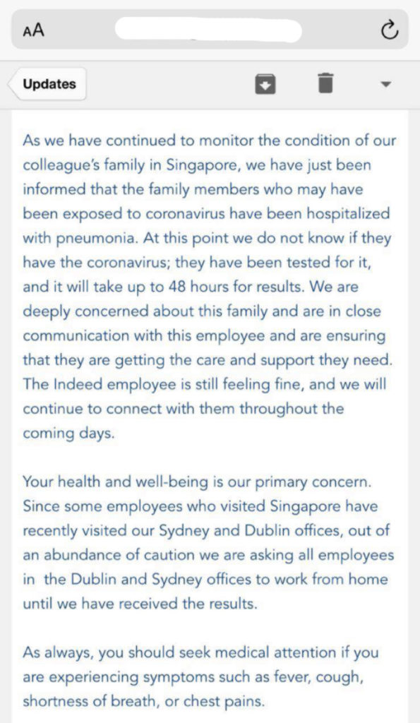 Indeed asks Irish employees to 'work from home' over coronavirus fears | Newstalk