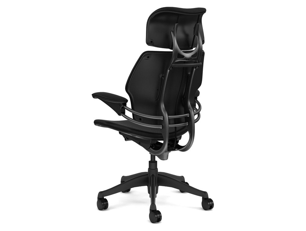 ergonomic chair used kd smart battery humanscale freedom with headrest in black reupholstered