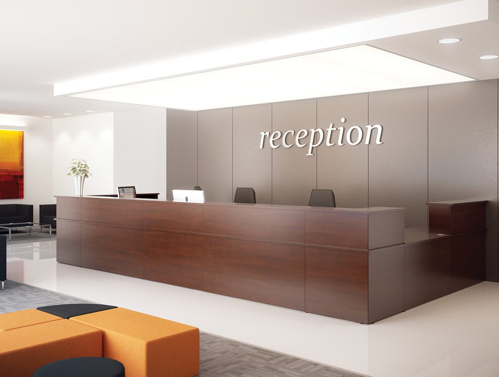 Ashford Reception Corner Metal Desk In Walnut  Radius Office