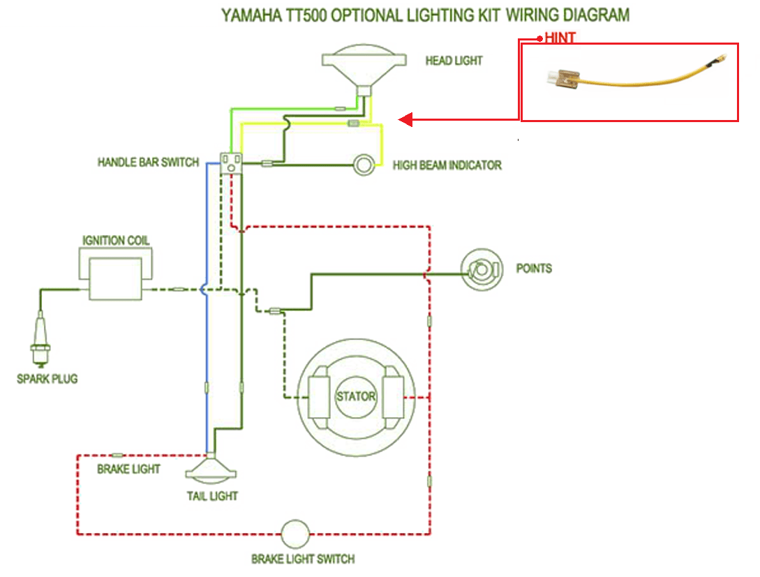 hight resolution of yamaha tt500 pigtail yellow wire for high low beam power connection replacement 1 001