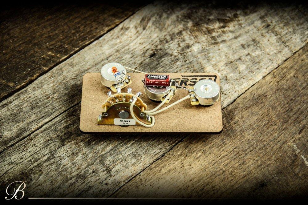 medium resolution of emerson custom s5 b 250k strat blender prewired kit