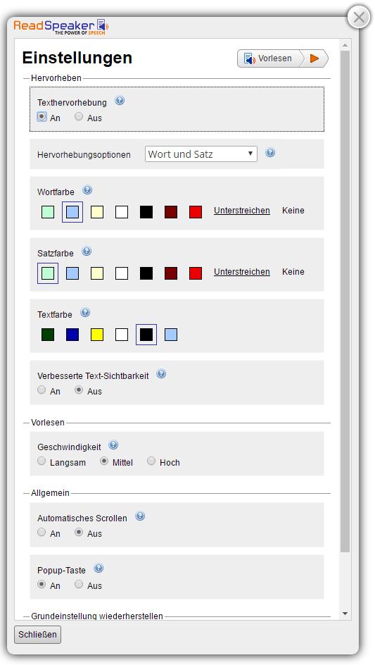 Bildschirmfoto des Expanded Player (Erweiterten Wiedergabefeldes) mit Einstellungsmenü