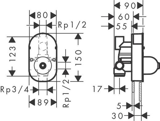 Set básico para mezcladores monomando de bañera con