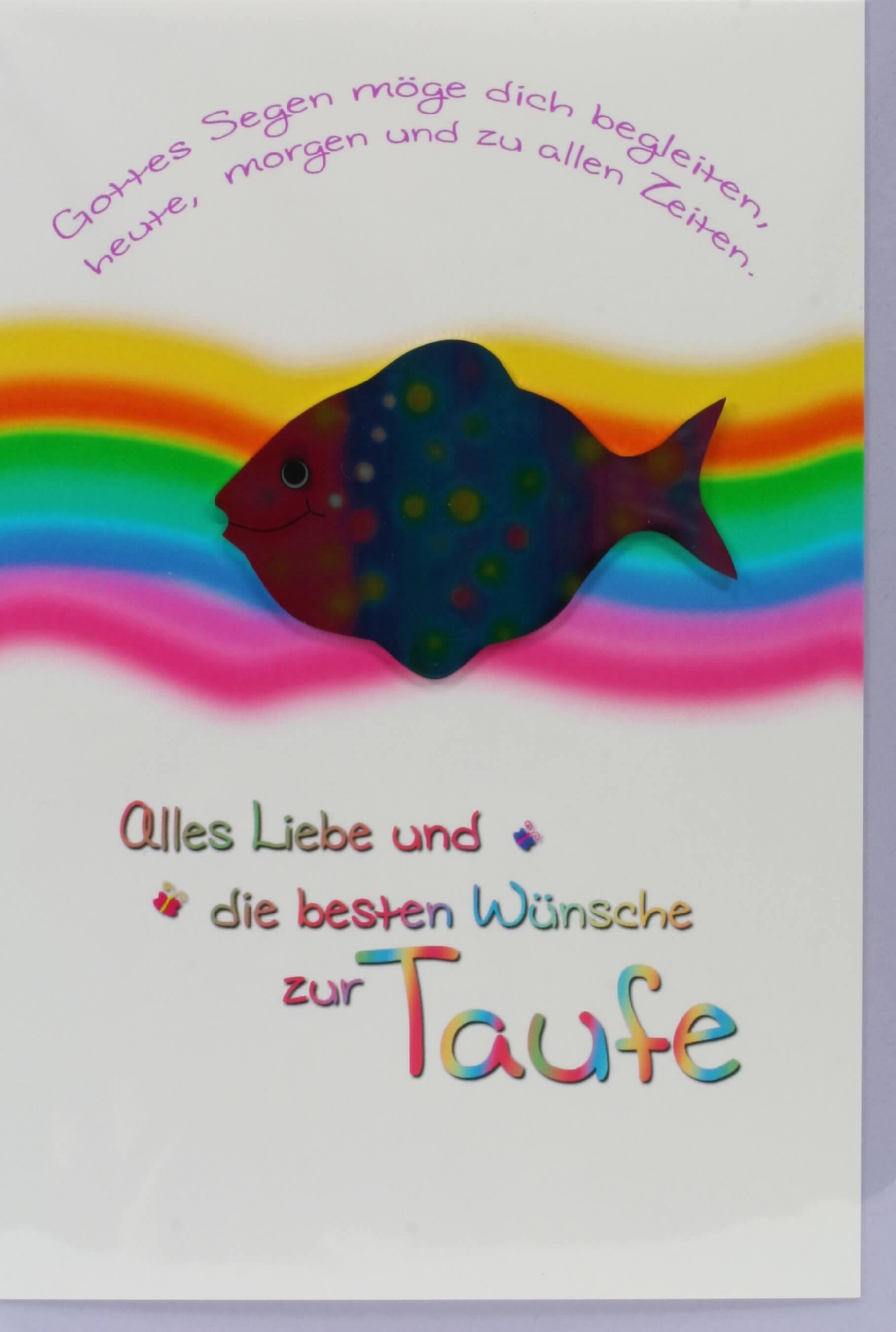 Karte zur Taufe  Regenbogen  MetallFisch