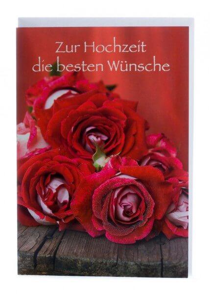Karte zur Hochzeit  Rote Rosen