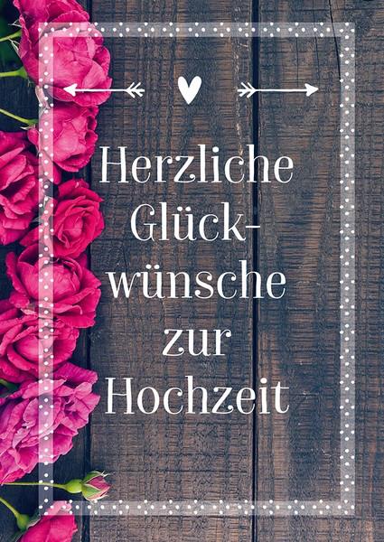 Karte zur Hochzeit  Rosen