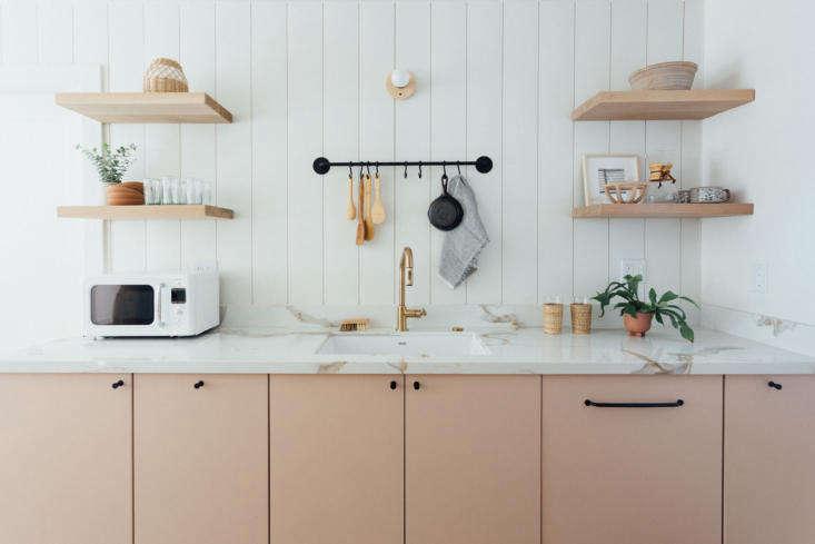 cabinet doors in pale pink