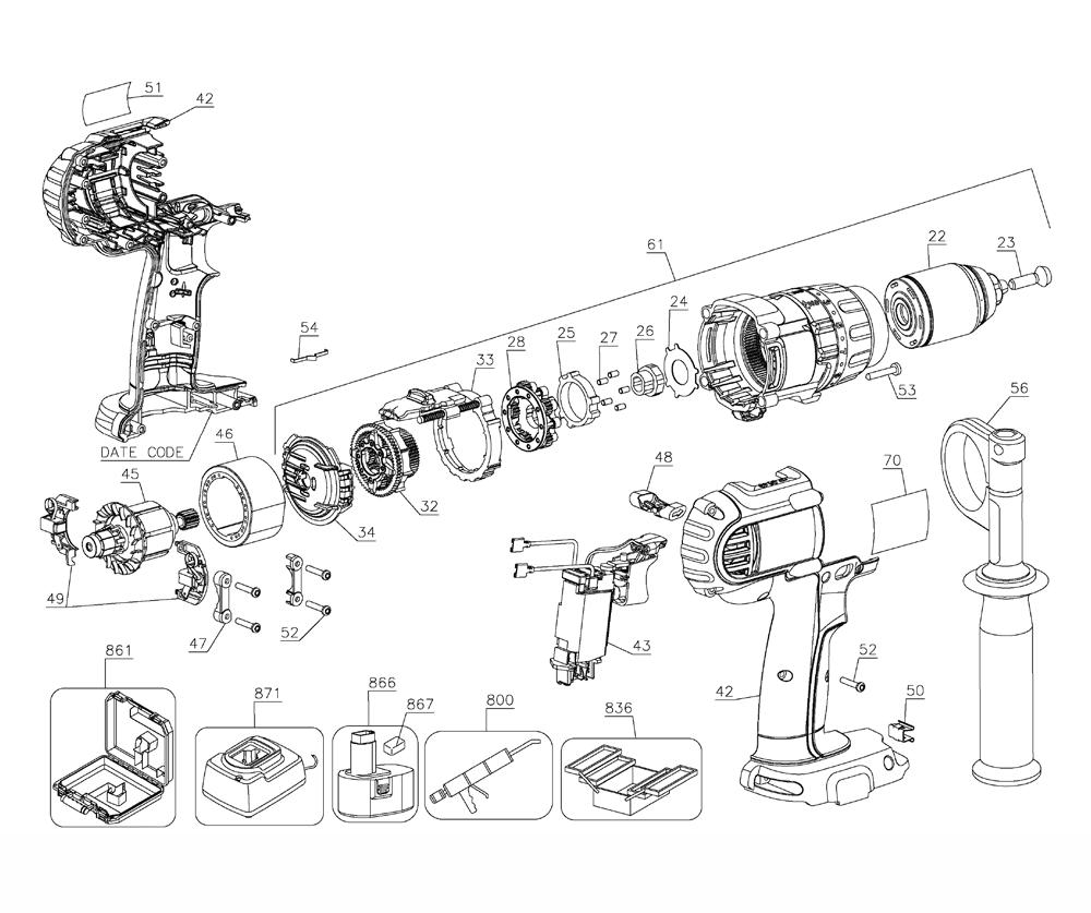 hight resolution of dewalt dcd970kl type 3 parts schematic