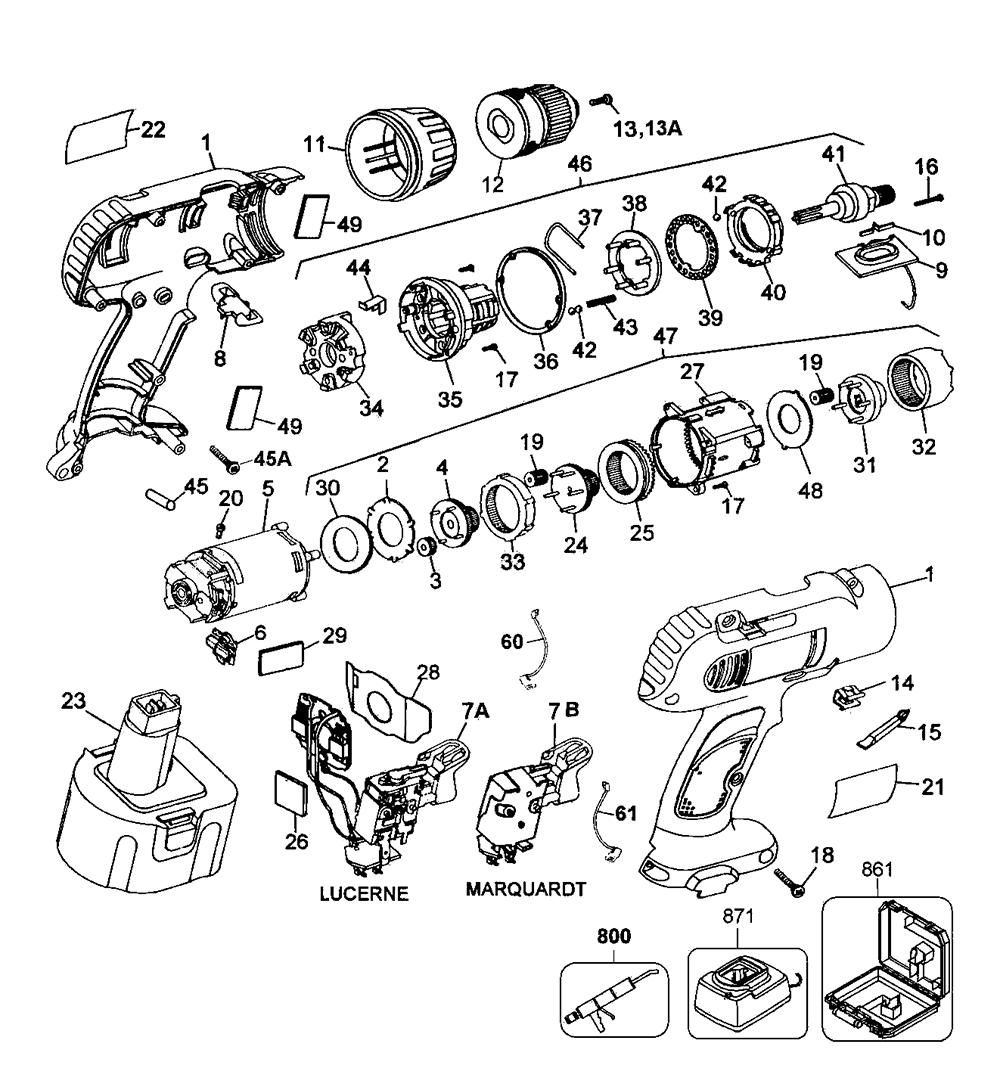 medium resolution of dewalt d991k 04 type 1 parts schematic