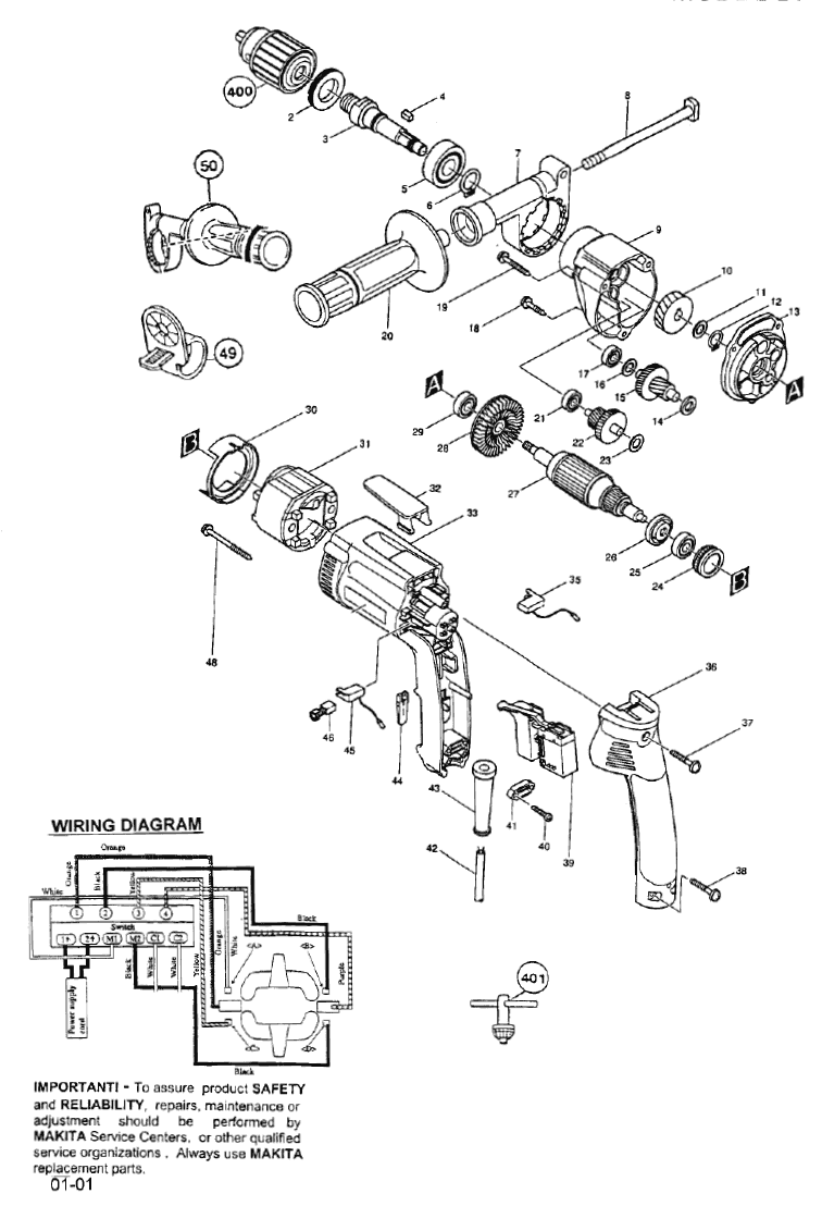 makita electric drill wiring diagram