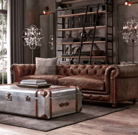restoration hardware kensington sofa leather using table as tv stand