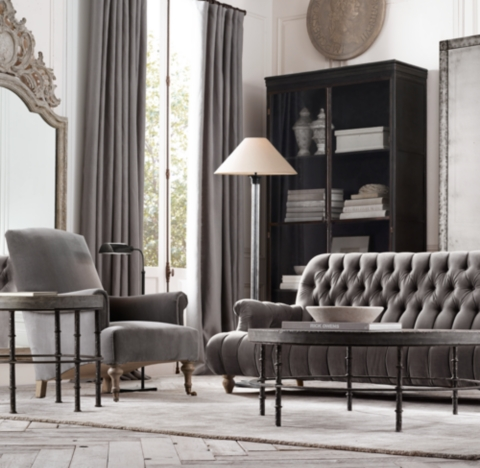 restoration hardware living room what color to paint with grey sofa 8 1860 napoleonic tufted upholstered alternate view 6