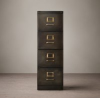 """1940S Industrial Modular Office 18"""" 4-Drawer File Cabinet"""