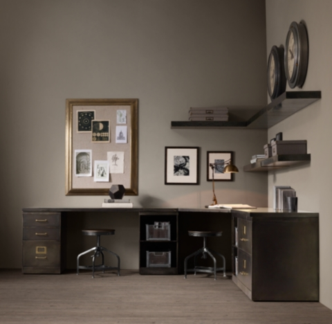 1940s Industrial Modular Office Double Corner Desk System