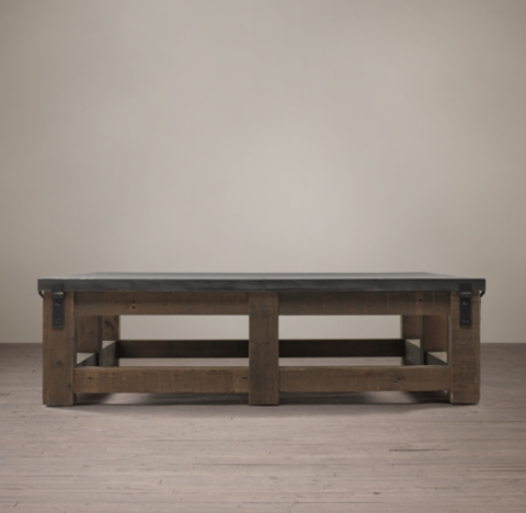 Reclaimed Wood Amp Zinc Top Square Coffee Table