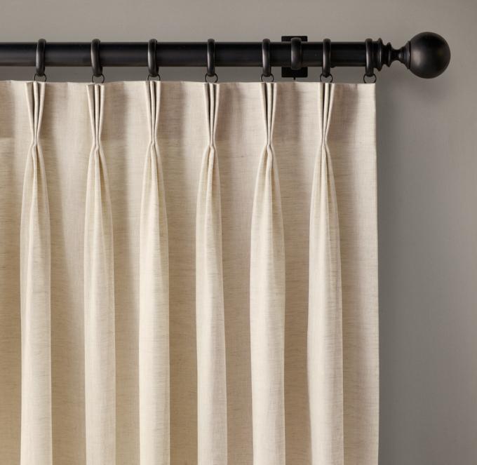 Custom Belgian Sheer Linen 3Fold FrenchPleat Drapery