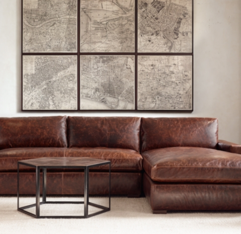next brompton leather sofa havana petite maxwell right-arm chaise sectional