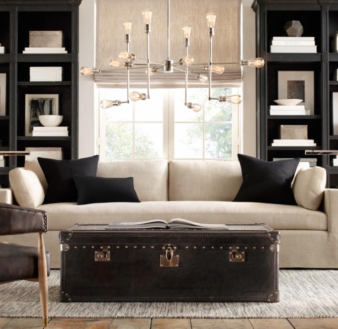 restoration hardware sectional sofa linen gus modern sale belgian track arm slipcovered