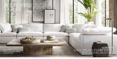 restoration hardware living room warm paint colors for small rooms coffee tables rh shop table collections