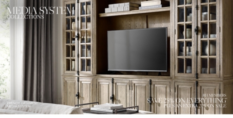 media center living room modern leather sofa ideas systems rh shop wall unit collections