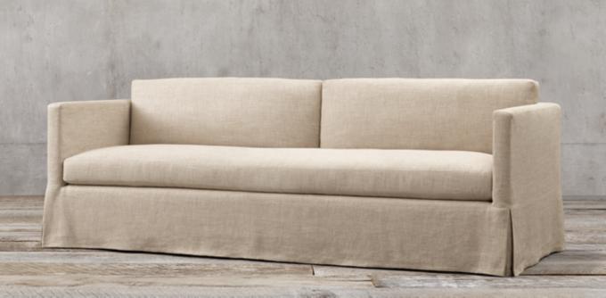 belgian linen sofa repair nj fabric sofas rh classic shelter arm slipcovered collection