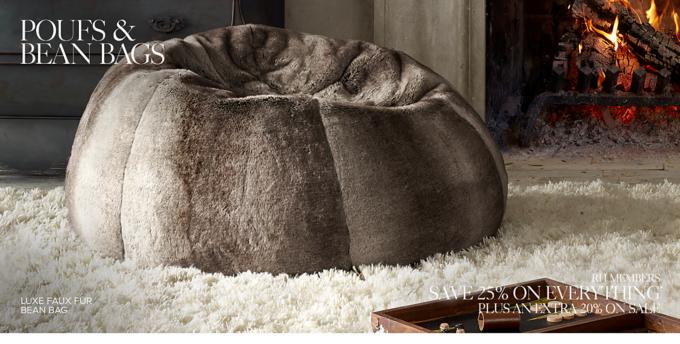 restoration hardware beanbag chair wedding covers doncaster bean bags poufs pelts rh shop and