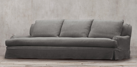 belgian linen sofa burgundy leather reclining collections rh classic roll arm slipcovered collection