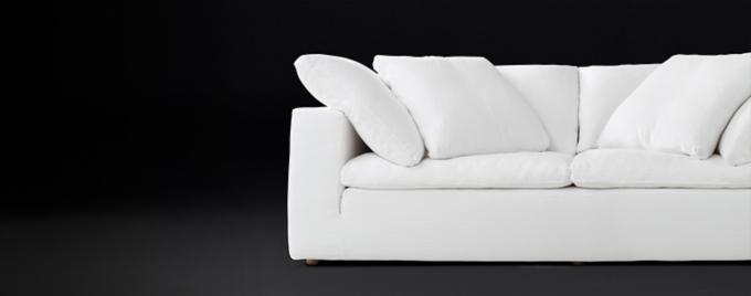 cloud track arm leather two seat cushion sofa tufted back sofas fabric rh modern