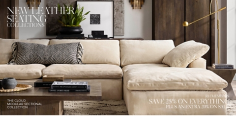 sunbrella sectional sofa indoor interior design living room leather seating collections | rh