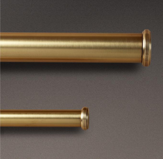 antique brass end caps rod set