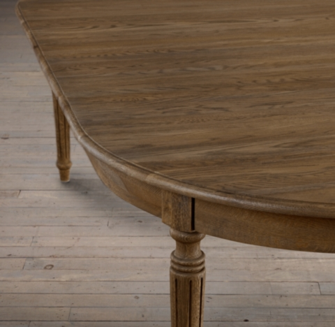 Vintage French FlutedLeg Extension Dining Table