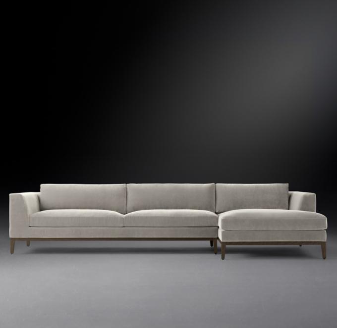 italia taper arm right arm sofa chaise sectional oak base